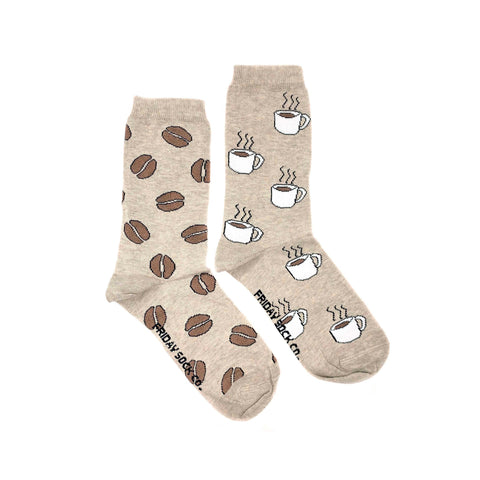 Women's Coffee & Coffee Bean Socks (Crew)