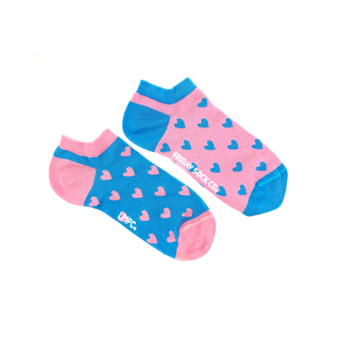 Women's Pink & Blue Heart Ankle Socks