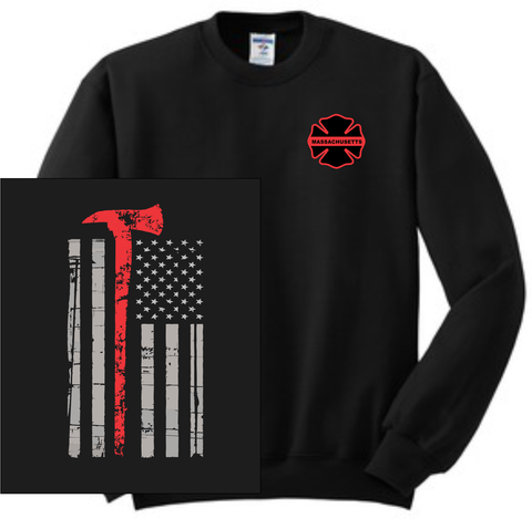 Thin Red Line Crew Neck Sweatshirt / Fruit of the Loom 82300