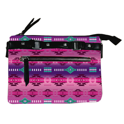 Fleece Printed Gradient Purse W/Front & Back Zipper - Pink Berry