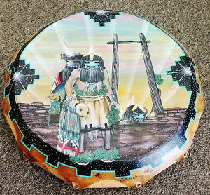 Hand Drum w/Zuni Kachina painting