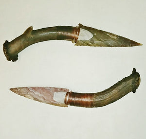 "Antiqued Antler Handle, 4.5"" Agate Blade"