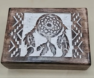 "Carved Wood Box - Dream Catcher,  5"" X 7"" X 2.5"",  10071"