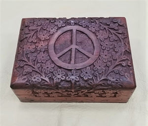 "Carved Wood Box - Peace, 5""X 7""X 2.5"", 11352"