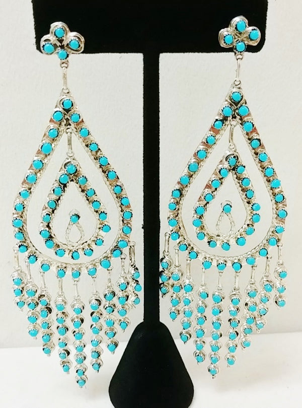 "Silver / Turquoise 5"" Tear Drop Dangle Earring"