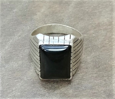 Men's Silver/Onyx Navajo Ring