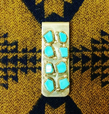 Blue Turquoise 8 Stone Money Clip