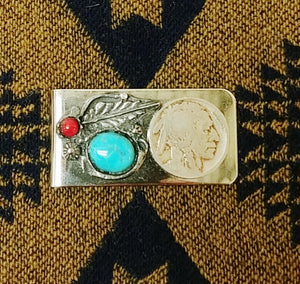Buffalo Nickle Turquoise / Coral Money Clip