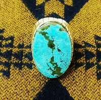 Men's Silver / Turquoise Oval Ring