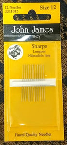 Sharps Needle - Size 12  Longs (12 pack)