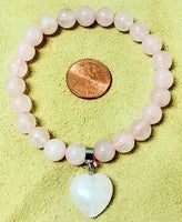 Rose Quartz Stretch Bracelet -8mm Rd w/Heart