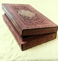 "Carved Inlay box 10""x 6""x 2.25"""