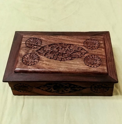 "Carved wood box 8.5""x 5.5""x 2.25"""