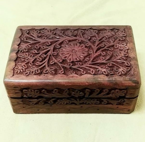 "Carved wood box 5""x 3.5""x 2"""
