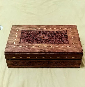 "Carved Inlay box 8""x 5""x 2"""
