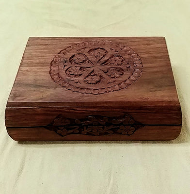 "Carved wood box 6.75""x 5""x 2"""