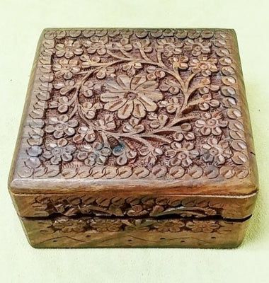 "Carved wood box 5""x 5""x 2"""