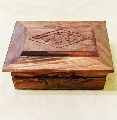 "Carved wood box 4.75""x 3.5""x 2"""