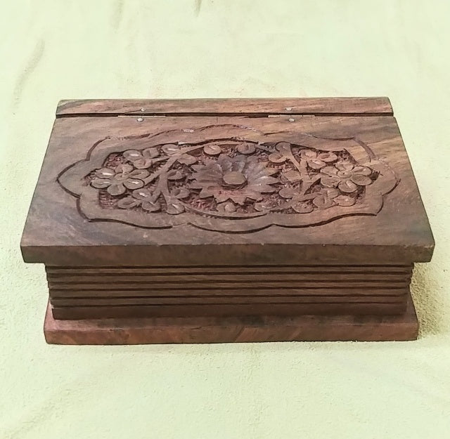 "Carved wood box 4.75""x 3.75""x 1.75"""