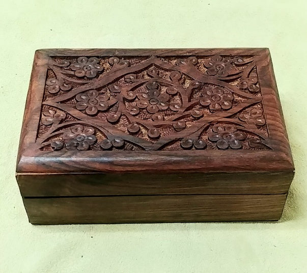 "Carved wood box 6""x 4""x 2"""