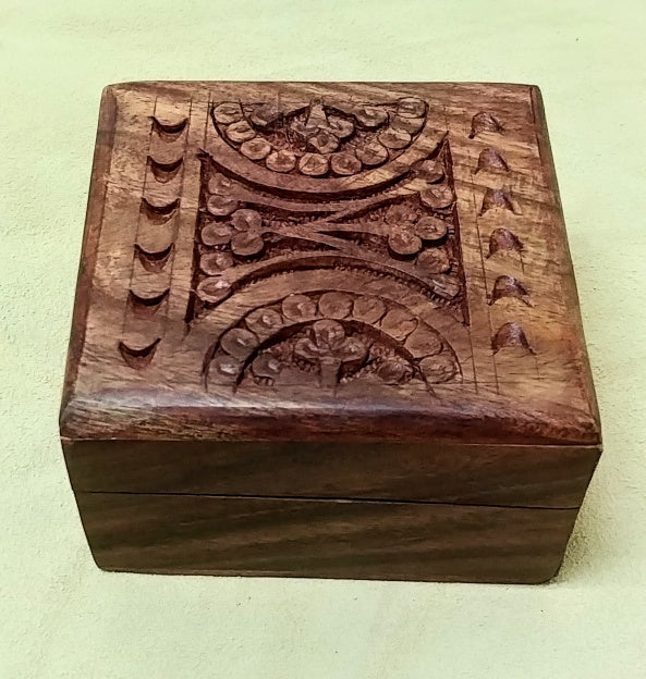 "Carved wood box 4""x 4""x 2.25"""