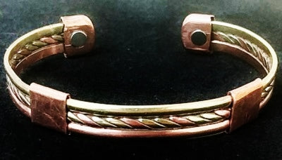 "#1 Tri-Tone Copper 1/2"" Magnetic Bracelet"