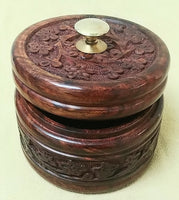 "Carved wood box 4"" Diameter"