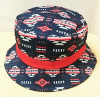 Southwest Style Bucket Hat -Navy/Red