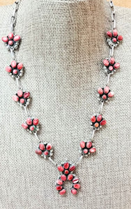 Red Spiny Oyster Squash Blossom Necklace