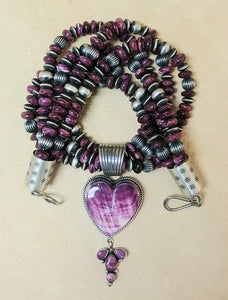Purple Spiny Oyster Heart Necklace