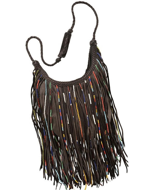 Gypsy Bead Fringed - Dark Brown