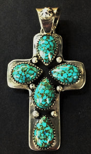 Sterling Silver 5 Cab Turquoise Cross