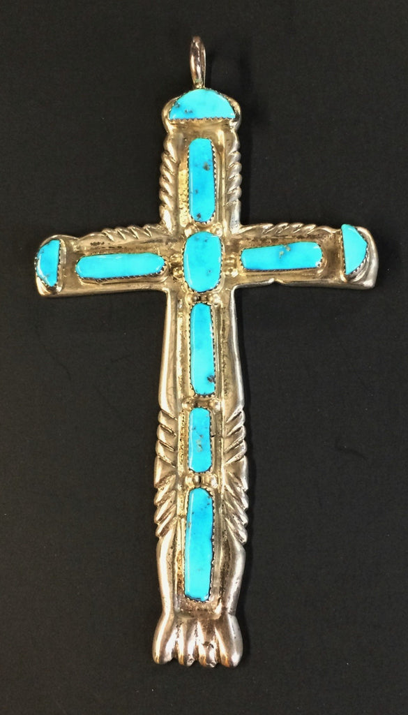 Sterling Silver Turquoise Cross Pendant 5""