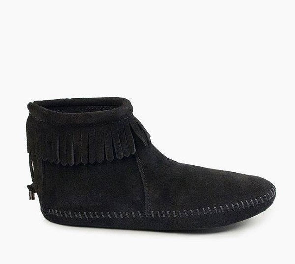 Back Zip Fringed Soft Sole - Black