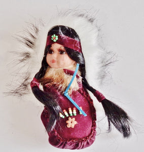 "Moccasin Doll 8"" - Burgundy"