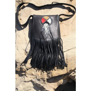 Purse - Circle of Life w/feathers - Black