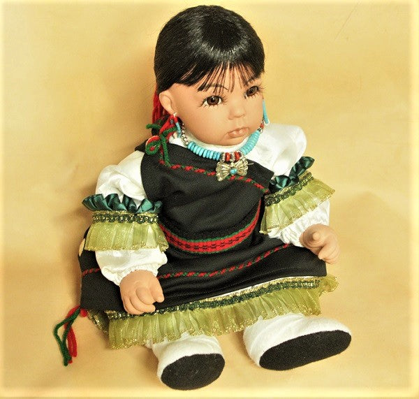 "Navajo Girl Doll 20"" - Black & White"