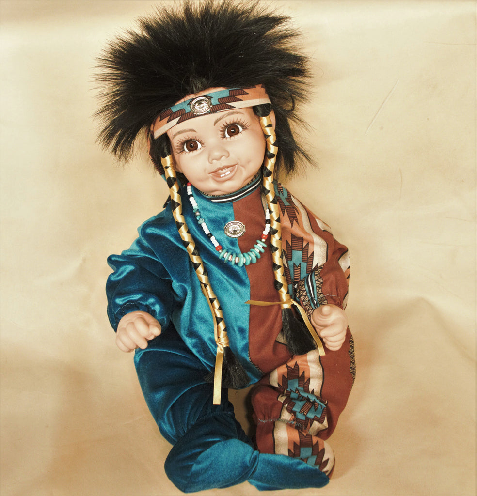 "Navajo Boy Doll 20"" - Blue/Brown Pattern"