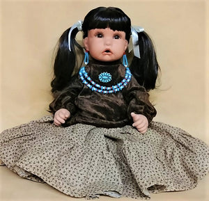 "Navajo Girl Doll 20"" - Brown Velvet"