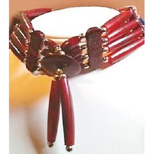 "Bone Choker - 4 Row, 14"" w/dangle - Red Horn"
