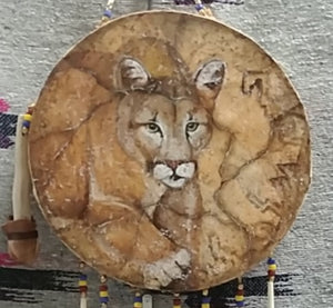 Hand Drum, Painted Mtn. Lion