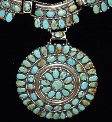 Navajo Turquoise Cluster Silver necklace