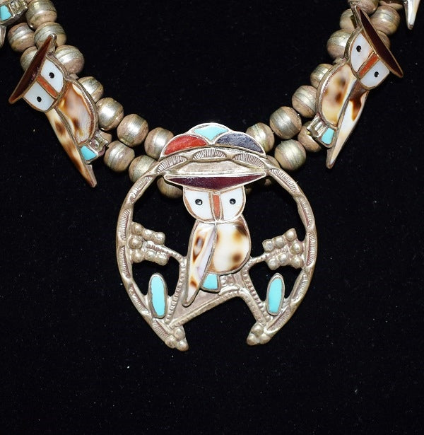 Zuni 11 Inlay Owls 2 Strand Silver necklace