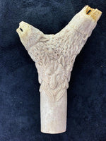 Carved Antler Double Bear Knife Handle