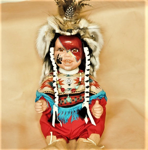 "Navajo Boy Doll 20"" Painted Face - Red w/Shawl"