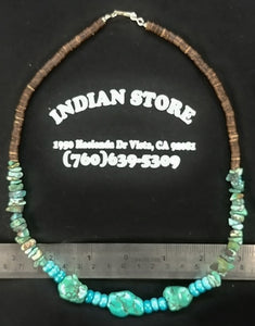 Turquoise Nugget / Heishi Necklace
