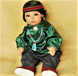 "Navajo Boy Doll 20"" - Green Satin"