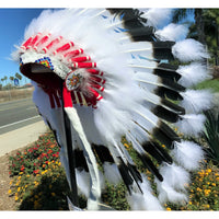 Deluxe White Tip War Bonnet