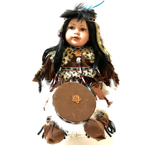 "24"" Ceramic Indian Doll w/ Drum"