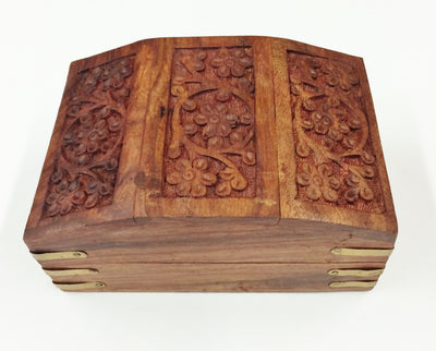 "Carved Wood Box - Daisy Chest 6""x 4""x 3"""
